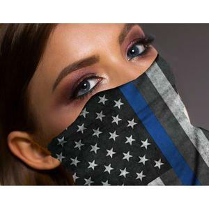 Thin Blue Line American Flag Face Mask Neck Gaiter